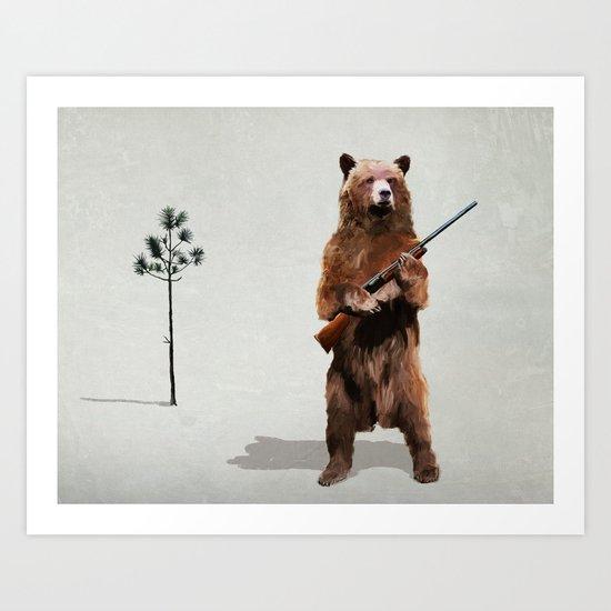 Bear with a shotgun Art Print