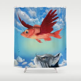 The flying fish and the amazed cat - Fantsy Shower Curtain