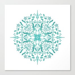 Magical Seahorse Mandala Canvas Print