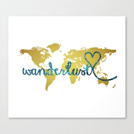 Wanderlust Gold Foil Map with Teal Glitter Text Canvas Print