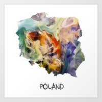 poland Art Prints featuring Map of Poland watercolor by jbjart