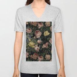 Vintage Roses and Iris Pattern - Dark Dreams Unisex V-Neck