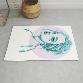 Blue Girl in a Pink Circle Rug