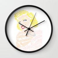 verse Wall Clocks featuring Marilyn Verse by Kaitlyn Brown