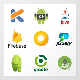 android studio developer firebase kotlin jquery java android oreo gradle stickers  9 in 1 Art Print