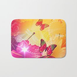 Awesome colorful flowers and butterfly Bath Mat