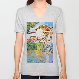 L'Aquila: collapsed hotel and rubble Unisex V-Neck