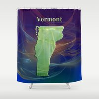 vermont Shower Curtains featuring Vermont Map by Roger Wedegis