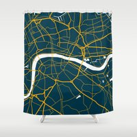 london map Shower Curtains featuring London Map by Studio Tesouro