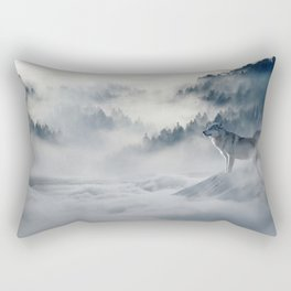 Photo of a wolf in a winter scene Rectangular Pillow
