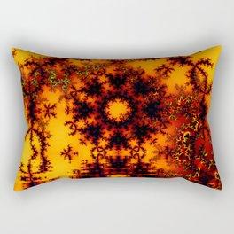 Mystical Golden Fire Lake, Abstract Fractal Baroque Illusion Rectangular Pillow