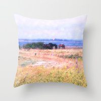 horses Throw Pillows featuring Horses  by Truly Juel