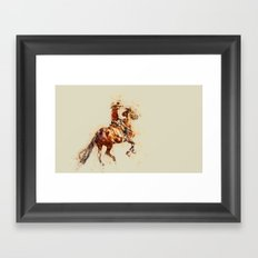 Horse modern art green Framed Art Print
