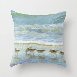 Sandpipers, A Day at the Beach Throw Pillow