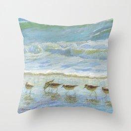Shorebirds, A Day at the Beach Throw Pillow