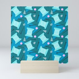 Memphis Sewing in Blue Mini Art Print