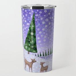 deer in the winter woods Travel Mug