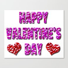 Happy Valentine's Day Metal Pink and Red Letters Canvas Print