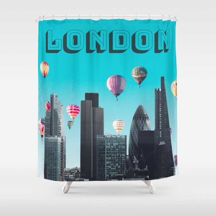 London England United Kingdom Skyline Downtown Shower Curtain