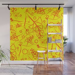 Botanical mustard pattern of olive and lemon plants and grass blades on a lemon background. Wall Mural