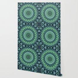 Cold blue and green mandala Wallpaper