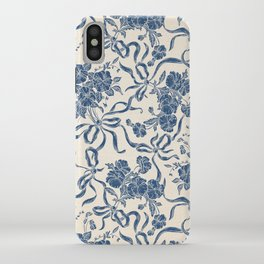 Chic Modern Vintage Ivory Navy Blue Floral Pattern iPhone Case