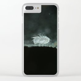 feather on spider web Clear iPhone Case