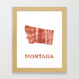 Montana map outline Red-brown colorful wash drawing painting Framed Art Print