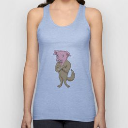 Pig Dog Standing Arms Crossed Cartoon Unisex Tank Top