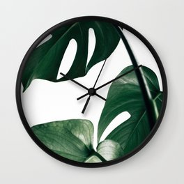 Monstera Leaf Print, Botanical Print, Botanical Art Wall Clock