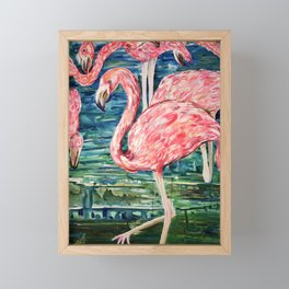 Flamingo Party Pink and Tropical Framed Mini Art Print
