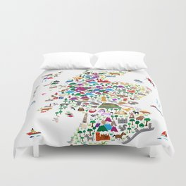 Animal Map of Scotland for children and kids Duvet Cover