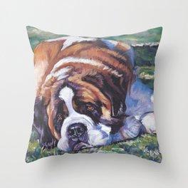 St. Bernard dog art from an original painting by L.A.Shepard Throw Pillow