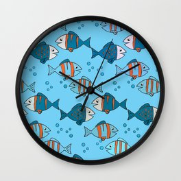 Little colored fish Wall Clock