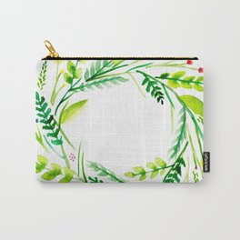 Romantic Wreath of Leaves and Flowers Carry-All Pouch