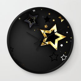 Gray Background with Black Stars Wall Clock