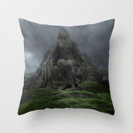 Giant Goddess Statue on a Green Hilly Landscape Throw Pillow