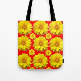 """YELLOW COREOPSIS """"TICK SEED"""" FLOWERS RED PATTERN Tote Bag"""