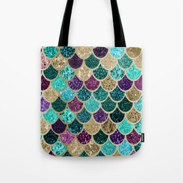 Mermaid Scales Decor, Teal, Purple, Gold Tote Bag