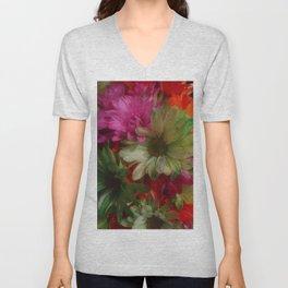 Grainy Green Flowers Unisex V-Neck
