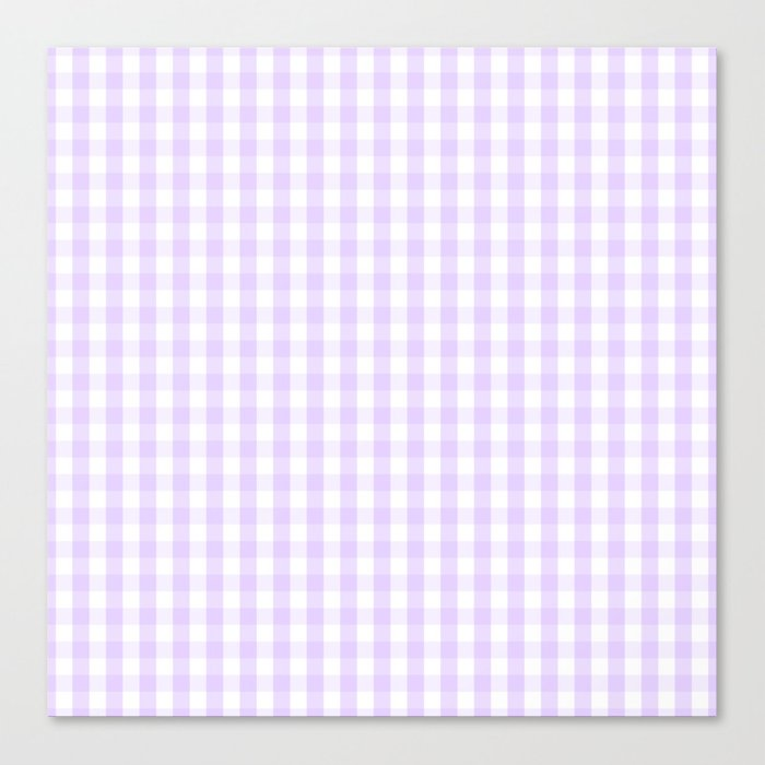 Chalky Pale Lilac Pastel and White Gingham Check Plaid Leinwanddruck