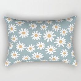 Daisies - daisy floral repeat, daisy flowers, 70s, retro, black, daisy florals dusty blue Rectangular Pillow