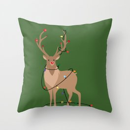 Rudolph Red Nosed Reindeer happy with his Favorite Christmas Lights Throw Pillow