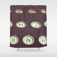 typewriter Shower Curtains featuring typewriter by stevee
