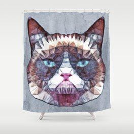 abstract grouchy cat Shower Curtain