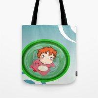 ponyo Tote Bags featuring Ponyo  by SamIAmTheSam