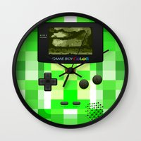 warcraft Wall Clocks featuring Gameboy Color Green Creeper by Veylow