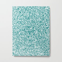 Tiny Spots - White and Dark Cyan Metal Print