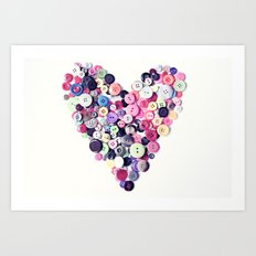 Button Heart Art Print