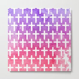 Cross Pattern Abstract Pink Purple Watercolor Metal Print
